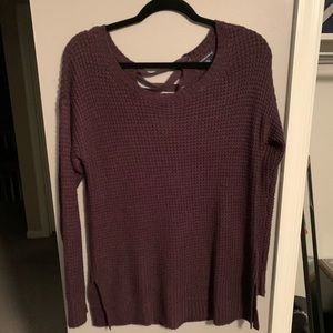 Purple American Eagle lace up sweater